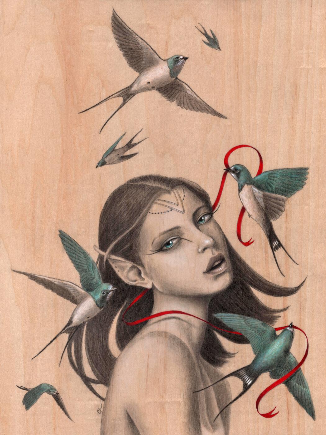 Caught - Original Acrylic Painting by Artist Carolina Lebar