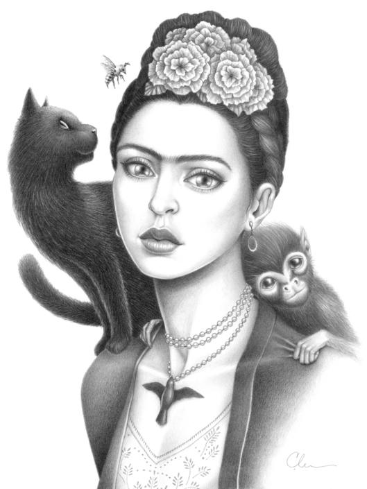 Frida Kahlo - Original Illustration by Artist Carolina Lebar