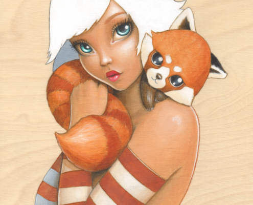 Kawaii Kuddles - Original Acrylic Painting by Artist Carolina Lebar