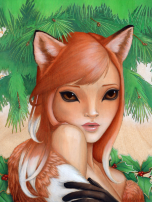 Kitsune - Original Oil Painting by Artist Carolina Lebar