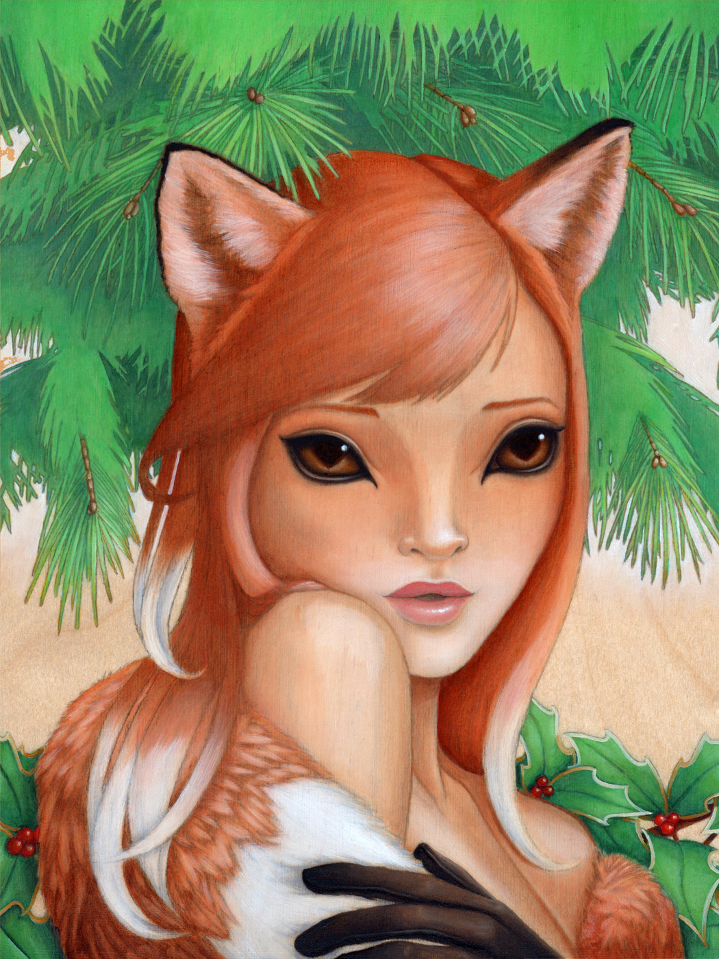 Kitsune - Original Oil Painting by Artist Carolina Lebar
