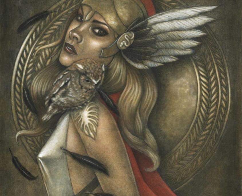 Athena an Original Goddess Painting by Carolina Lebar Art
