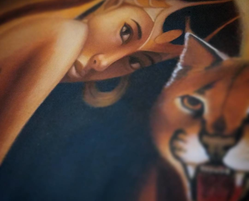 Gaze of Bastet - Original Oil Painting by Artist Carolina Lebar