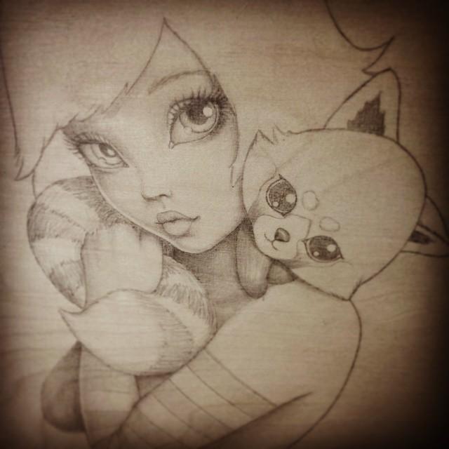 Kawaii Kuddles - Original Pencil Drawing by Artist Carolina Lebar