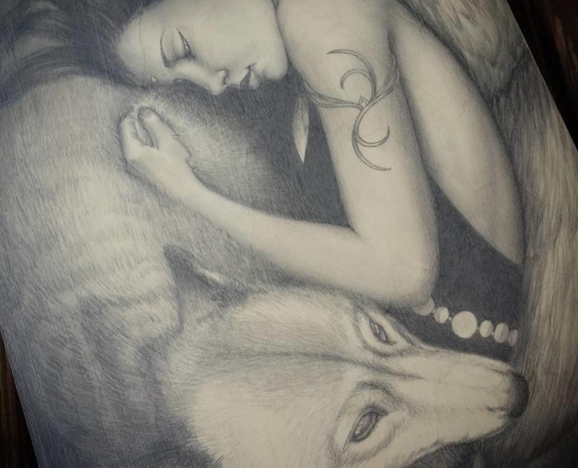 Knight and Dae - Original Drawing by Artist Carolina Lebar