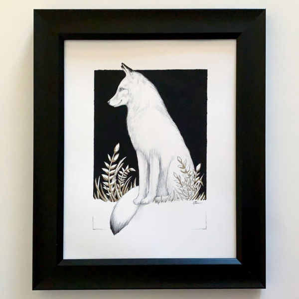 White Framed Fox Art by Carolina Lebar