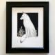 White Framed Fox Art by Carolina Lebar